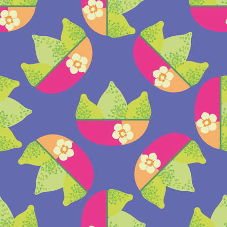 Bright green textured vector limes in pink orange floral bowls. Seamless pattern background. Single motif citrus fruit design on purple backdrop. Hand drawn graphic geometric repeat with tropical vibe