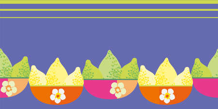 Vector border with limes and lemons in pink orange floral bowls. Seamless citrus fruit banner with space for text on purple backdrop. Hand drawn graphic design with tropical summer vibe.