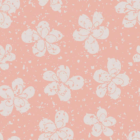 Scattered cream white flowers seamless vector pattern background. Simple pastel pink backdrop of modern hand drawn florals with snowy texture speckle overlay. Botanical all over print for packaging