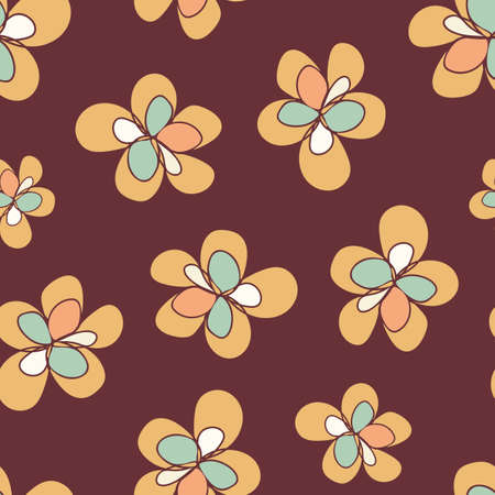 Retro color orange flowers seamless vector pattern background. Fun simple hand drawn florals on chocolate brown backdrop. Botanical design. All over print for home decor, packaging, stationery Illustration