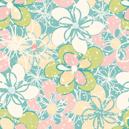 Pastel vector flower wall seamless vector pattern background. Light green, pink, blue overlapping florals dense backdrop. Hand drawn blooms with snowy speckle texture. Botanical all over print.