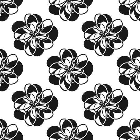 Vector black and white cut out style flowers seamless vector pattern background. Fun modern hand drawn floral silhouettes backdrop. Botanical design. Geometric all over print for packaging, stationery Illustration