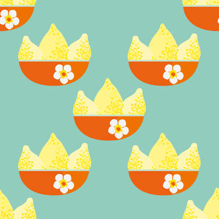 Bright yellow textured vector lemons in orange floral bowls. Seamless pattern background. Single motif citrus fruit design on pastel teal backdrop. Hand drawn geometric repeat for kitchen, packaging Illustration