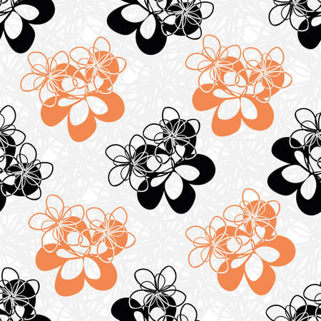 Modern vector black and orange flowers seamless vector pattern background. Cut out style hand drawn floral silhouettes on light textured backdrop. Botanical geometric design for packaging, stationery Illustration