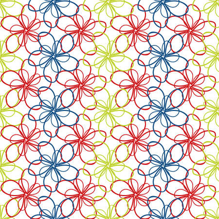 Vector flower wall seamless vector pattern background. Light backdrop of overlapping outline florals in green, red, blue creating weave stripe effect. Scribbled botanical all over print for packaging