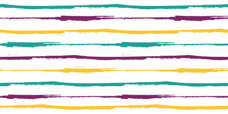 Vector border of thin horizontal painterly blue, yellow, purple stripes. Colorful seamless striped banner on white backdrop. Hand drawn paint brush style design. For edging, trim, ribbon, washi tape