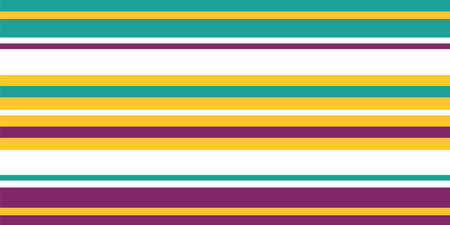 Bright vector striped seamless border. Banner of turquoise, purple, burgundy, yellow, white thin and thick stripes. Linear horizontal geometric design. For ribbon, trim, edging, wellness packaging Illustration