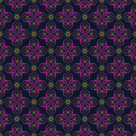 Vector Indonesian batik style floral seamless pattern background. Stylized flowers in purple, gold on dark backdrop. Elegant hand drawn design. Geometric all over print for wellness, fabric, decor Illustration