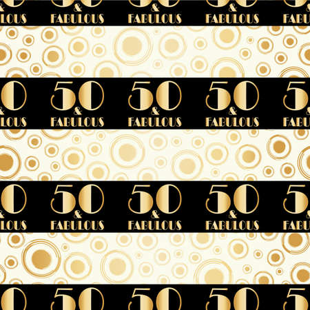 Fifty and fabulous birthday seamless vector pattern gold foil background. Black horizontal stripes with art deco style typography on bubble backdrop.1930s effect geometric design for party, gift wrap