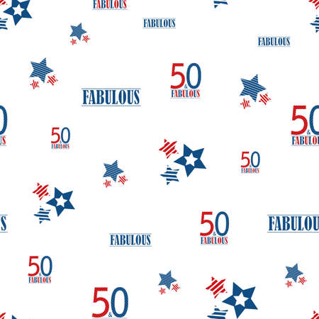 Fifty and fabulous seamless vector pattern background. Red, blue, white backdrop with scattered text,striped stars,champagne bottles, glasses. Americana style design for birthday, business anniversary