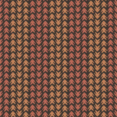 Vector tribal arrow style grunge seamless pattern background. Painterly chevrons in vertical brown and terracotta alternating rows Dense wicker weave effect all over print for fabric, packaging Illusztráció
