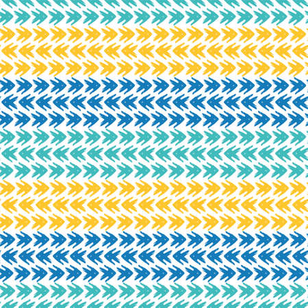 Vector tribal arrow style grunge brush seamless pattern background. Backdrop with striped rows of painterly chevrons in blue and orange. Wicker weave effect design. All over print for fabric, summer Illusztráció