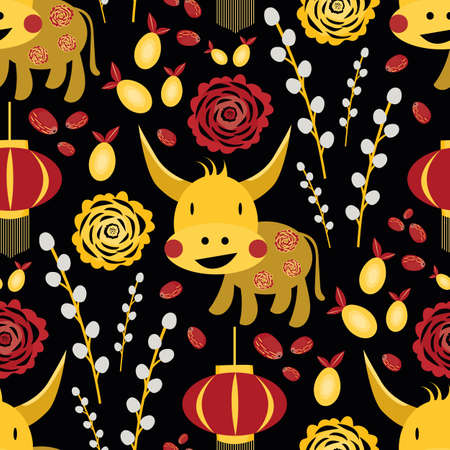 Vector Chinese new year of the ox seamless pattern background. Backdrop of cute gold kawaii bull, lanterns, paper cut peonies, pomelo and jujubu fruit, pussy willow branches. Calendar symbol of 2021.