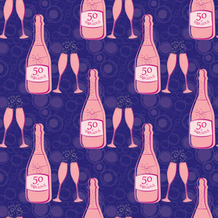 Fifty and fabulous seamless vector pattern background. Girly pink and purple bubble textured backdrop with Champagne bottles, fizzing glasses, text. Geometric repeat for milestone birthday celebration