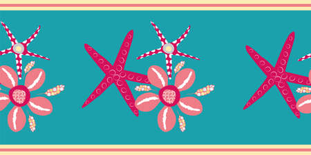 Starfish and cowrie shell vector border. Luxurious pink and aqua blue banner with gold edging. Hand drawn trio of marine creatures. Marine wildlife alll over print for summer beach vacation concept.
