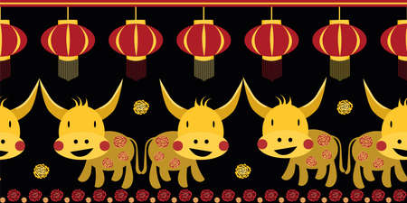 Vector Kawaii Chinese new year of the ox border background.