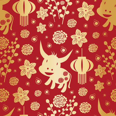 Vector gold foil and red Chinese new year of the ox seamless pattern background. Vektorové ilustrace