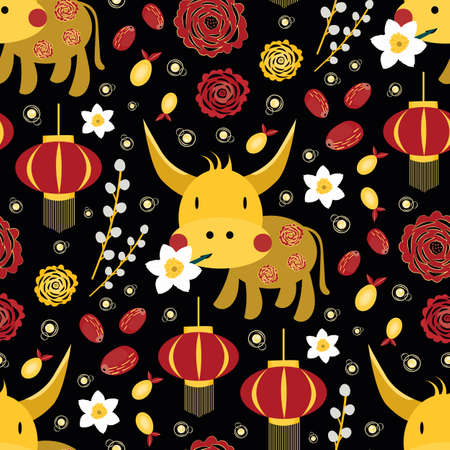 Vector Chinese new year of the ox seamless pattern background.