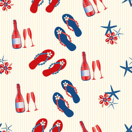 Vector Champagne bubbles and flip flop shoe seamless pattern background. Prosecco bottles, fizzing glasses, starfish, shells on sand colored backdrop. All over print for beach party celebration