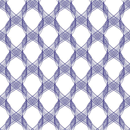 Vector inky blue abstract braid effect damask weave seamless pattern background. Cascading 3D effect curled vertical ribbons woven lattice on white backdrop. Geometric all over print for packaging