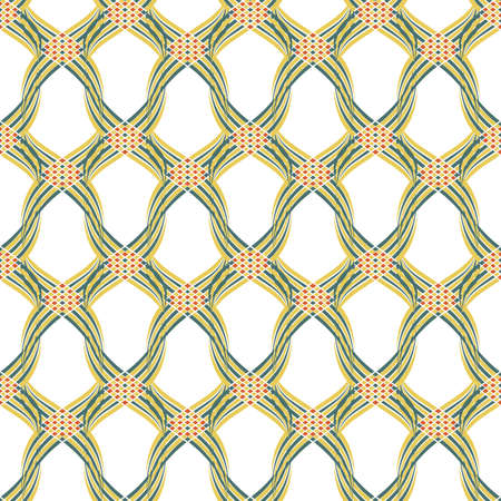 Vector braid effect damask weave seamless pattern background. Backdrop of woven celtic style green,yellow, red ribbon plait lattice on white backdrop. Geometric all over print for Irish concept Illusztráció