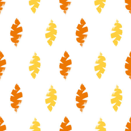 Mono print style leaves seamless pattern background. Textured cut out yellow, orange foliage on white backdrop. Hand crafted painterly stamp geometric design. For summer or fall products