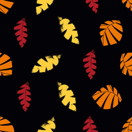 Mono print style scattered leaves pattern background. Textured cut out yellow, red, orange on black backdrop. Hand crafted painterly stamp design. All over print for fall products
