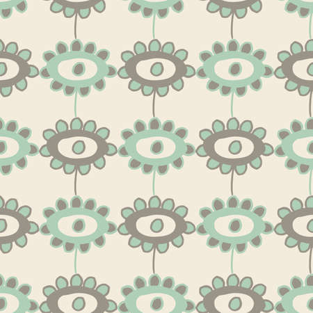 childlike drawing of flowers seamless pattern background. Neutral backdrop with painterly floral in light teal and cream colors. Geometric scribbled all over print for packaging, stationery