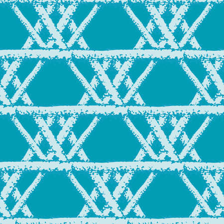 macrame braid weave effect seamless interlace pattern background. Horizontal rows of woven style plaited ribbon lattice on aqua blue backdrop. Geometric woven rattan. Modern all over print