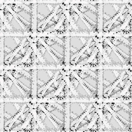 Vector braid effect grid weave seamless interlace pattern background. Monochrome gray marble woven style plaited lattice backdrop. Geometric grunge layered knotwork. All over print for packaging