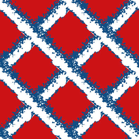 Vector wicker weave seamless pattern background. Painterly grunge brush diagonal grid mesh backdrop. Woven criss cross red,blue, white geometric repeat design. Nautical all over print for packaging
