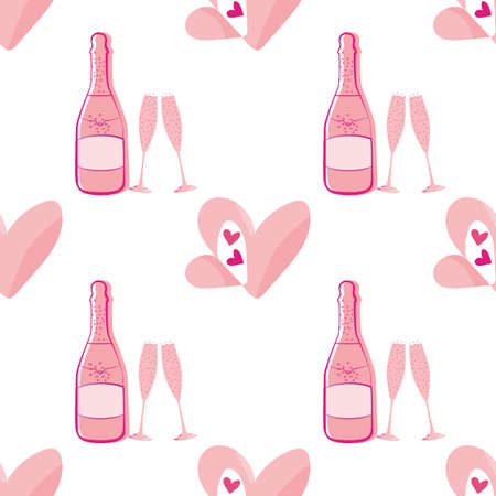 Quirky champagne and open heart seamless vector pattern background. Pink bottles, glasses, fizzy drink and love symbol on white backdrop. Fun all over print for engagement, Valentine celebration