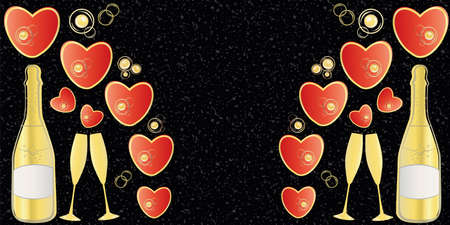 Champagne and red hearts border with space for copy. Gold bottles, glasses and love symbols on textured black granite stone backdrop. Elegant banner for engagement, Valentine celebration