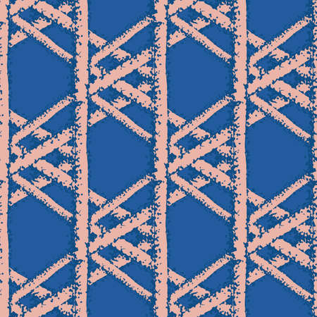 macramee braid weave effect seamless interlace pattern background. Horizontal rows of woven style plaited ribbon lattice pink cobalt blue backdrop. Geometric woven rattan. All over print.