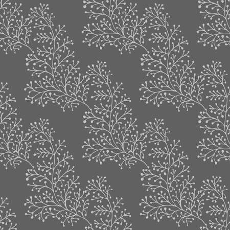 Jacquard effect wild meadow grass seamless vector pattern background. Monochrome gray backdrop of leaves in elegant geometric damask design. Botanical baroque foliage all over print for fabric. Illusztráció