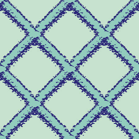 wicker weave seamless pattern background. Painterly grunge brush diagonal grid mesh backdrop. Woven criss cross monochrome blue geometric repeat design. Simple all over print for packaging