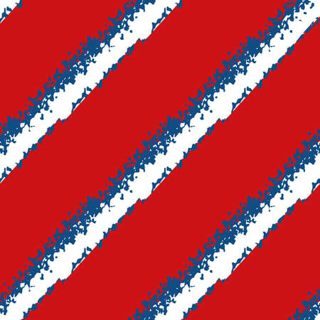 Modern grunge diagonal stripe vector seamless pattern background. Painterly brush stroke style slanted white blue bands on red backdrop. Abstract geometric design. All over print for nautical concept