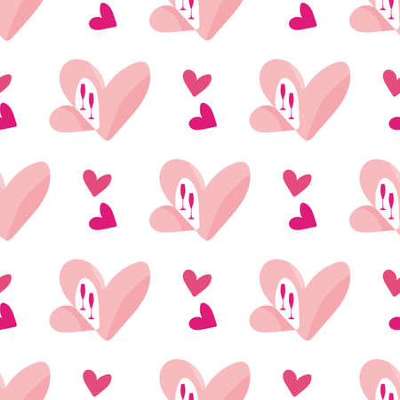Quirky open heart seamless vector pattern background. Pink groups of love symbols on white backdrop. Fun geometric romantic motif design. All over print for engagement, Valentine celebration