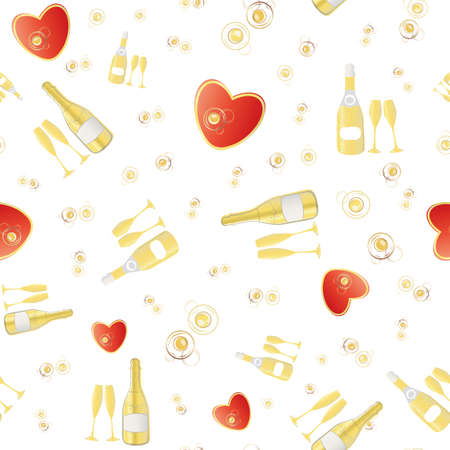 Champagne and red hearts seamless vector pattern background. Gold bottles, glasses, fizzy drink on white backdrop. Elegant sparkling wine repeat. All over print for engagement, Valentine celebration