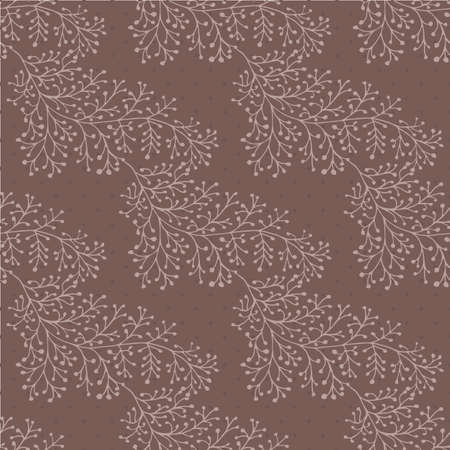 Jacquard effect wild meadow grass seamless vector pattern background. Monochrome brown backdrop of leaves in elegant geometric damask design. Botanical baroque foliage all over print for fabric.