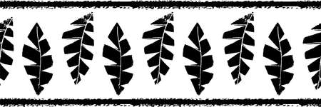 Mono print style scattered grunge leaves seamless vector border background. Black and white banner of vertical textured cut out foliage. Hand crafted painterly stamp design. For ribbon, edging, trim Illusztráció