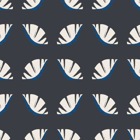 Geometric mono print style leaves seamless vector pattern background. Textured cut out white foliage on slate black backdrop. Painterly masculine design. All over print for men fashion, shirt, fabric
