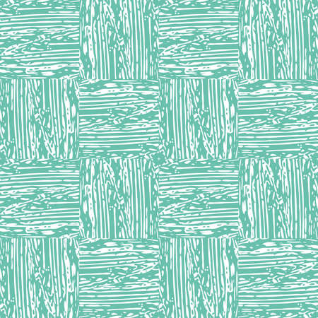 Vector fine woven texture seamless pattern background. Organic brush stroke effect cloth backdrop. Turquoise square repeat fabric, interlocking weave style. All over print for packaging, stationery