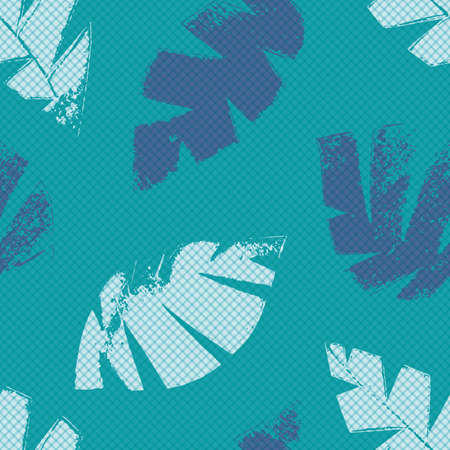 Mono print style scattered leaves seamless vector pattern background. Backdrop of textured cut out foliage in shades of aqua blue. Monochrome painterly grunge design. All over print for wellbeing