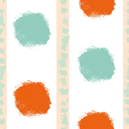 Mono print style circles seamless vector pattern background. Textured stamp effect orange, mint green round shapes and vertical stripes on white backdrop. Painterly all over print for summer concept
