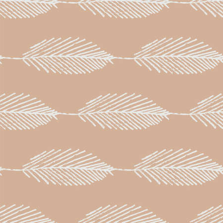 Mono print style scattered leaves seamless pattern background. Simple lino cut effect skeleton leaf foliage on pink brown backdrop. At home hand crafted design concept. Geometric repeat Illusztráció