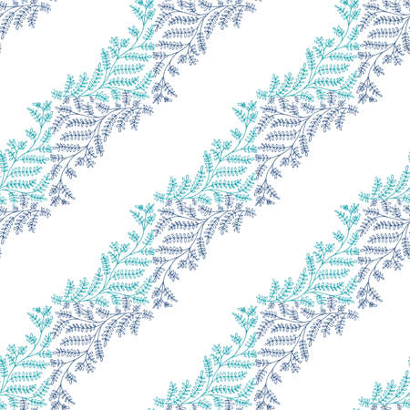 Jacquard effect wild meadow grass seamless vector pattern background. Blue white backdrop of leaves in elegant diagonal stripe geometric damask design. Botanical baroque foliage all over print