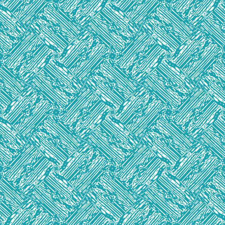 fine woven texture seamless pattern background. Organic brush stroke effect cloth backdrop. Aqua blue diagonal repeat fabric, interlocking weave style. All over print for packaging, stationery