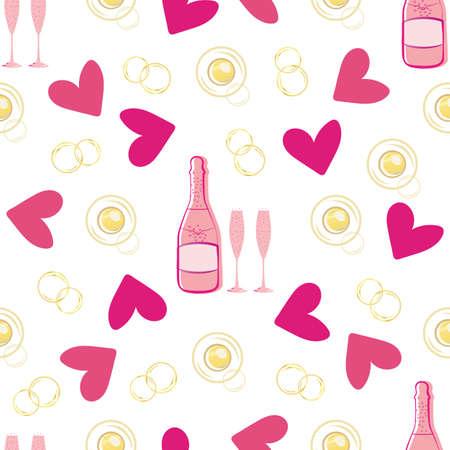 Champagne bubble and hearts seamless  pattern background. Gold, pink, white backdrop of bottles, drink glasses, sparkling circles. Elegant rose wine repeat for engagement, Valentine celebration Illusztráció