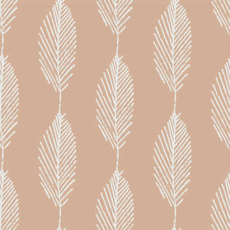 Mono print style leaves seamless vector pattern background. Vertical columns of simple white lino cut effect foliage on light brown backdrop. At home hand crafted design concept. Geometric repeat. Illusztráció